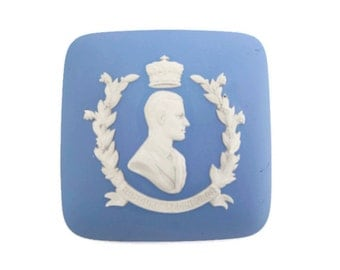 Vintage Wedgwood Pale Blue Jasper Cover Replacement Lid Prince Philips Coronation HRH Duke of Edinburgh 1953 Made in England