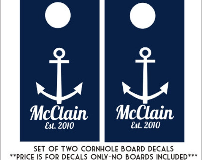 Anchor Cornhole Decals Personalized Cornhole Board Decals DIY Wedding Lake House Anchor Nautical Set of Bean Toss Decals Board Decals Vinyl