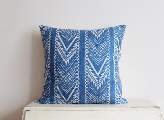 """Block printed chevron pillow cushion cover 22"""" x 22"""" in denim blue"""