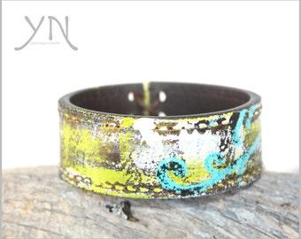 Women's Leather Cuff Bracelet   Upcycled Belt Bracelet   Gift Ideas For Her   Leather Wristband   Leather Bangle Bracelet   Green