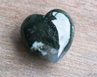 Moss Agate Large Puffy Heart # 43976