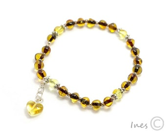 Baltic Amber Bracelet with Heart Pendants and Spacers