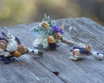 Real Lavender Wild Flower Boutonniere boho chic Ana