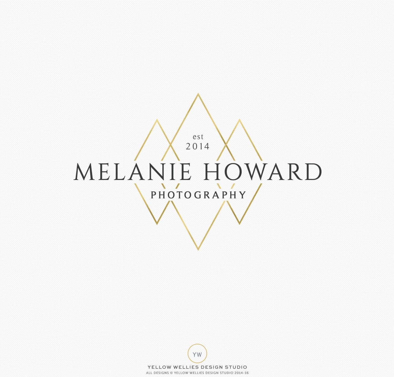 Premade logo design modern gold diamond logo photography for Modern interior design logos
