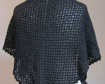 Black Crochet Cotton Triangle Shawl - Made to order.