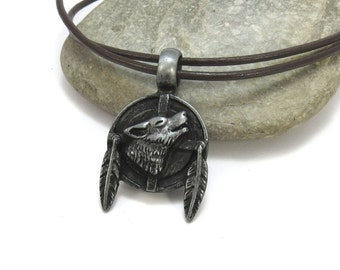 Native Wolf Necklace - Howling Wolf - Native style Jewelry - Wolf Totem - Feather Mandela