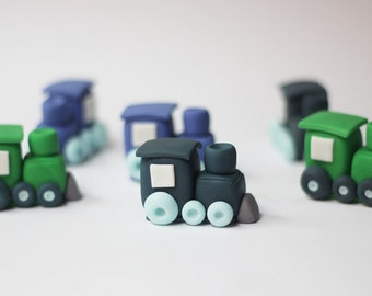 Train cupcake toppers - train fondant cupcake toppers - edible train toppers - train toppers - fondant transportation - cupcake toppers