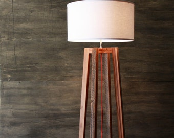 Modern A-frame Floor Lamp- Reclaimed Wood Light- Rustic Modern Lighting- Wood Frame Lamp- Woven Shade- Living Room Lighting- FREE SHIPPING