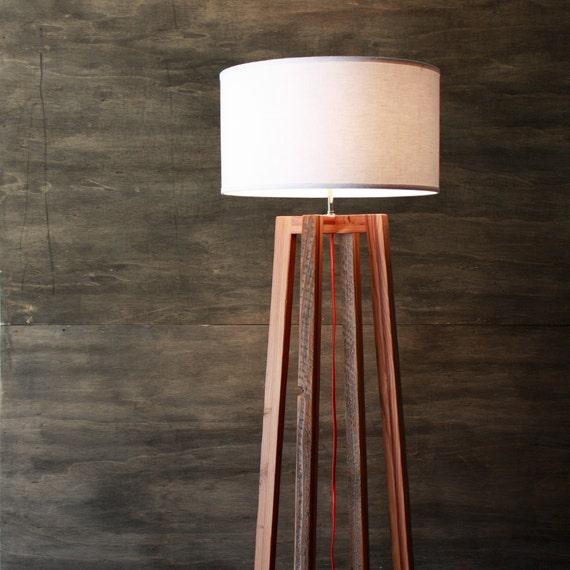 Modern A-frame Floor Lamp- Reclaimed Wood Light- Rustic Modern Lighting-  Wood - Modern A-frame Floor Lamp Reclaimed Wood Light Rustic Modern
