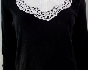Vintage 50's cotton and lace embroidered collar