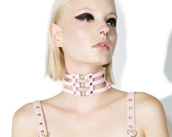Cage Heart Choker. Pink Leather Collar