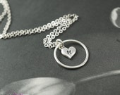 Personalized eternity necklace, circle necklace, simple necklace, everyday necklace, heart charm, heart necklace, valentines gift
