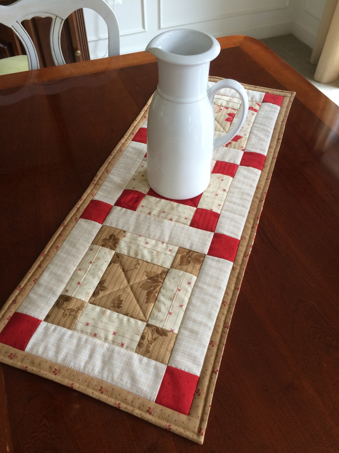 Red Beige Amp White Quilted Table Runner Country By Seaquilt