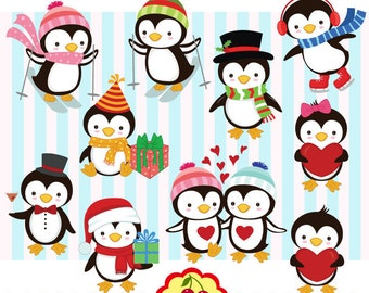 Holiday penguins digital clip art set 1 CH0026,Cute Playful Penguins digital clipart for-Personal and Commercial Use