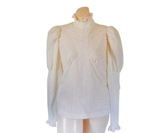 Victorian Blouse Boho Blouse Bohemian Blouse Ruffle Blouse Puffy Sleeve Shirt High Neck Blouse 70s Blouse 70s Shirt Ruffle Shirt Ladies