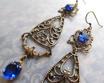 Gypsy Earrings Gold Chandelier Earrings Game of Thrones Jewelry Cobalt Blue Earrings Art Nouveau Earrings Art Deco Earrings- Blue Hollywood