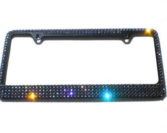 Mega Bling BLACK DIAMOND (Grey) Crystal  License Plate (Black) Frame Rhinestone Sparkle made w/ Swarovski Crystals