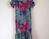 Vintage Dress, Hawaiian Maxi Dress, Honolulu Hawaii Dress, Vintage Floral Granny Dress, 40-34-44