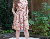 Vintage 60s Day Dress - Multi-Color Daisy Pattern Belted MED
