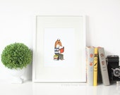 Reading Fox Print - 8x10 Jaunty Animals Print by Hello Small World, Reading Print, Book Print, Book Nook Art, Library Art, Fox Print, Kids