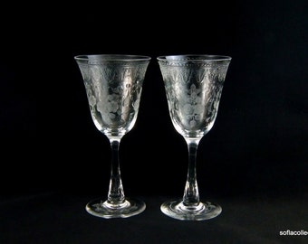 Tuthill Cut Glass (presumed) ABP Water Goblets / Water Glasses Engraved Bowl & Foot with Detailed Roses - Wine Goblets - Wine Glasses (pair)