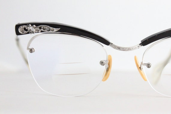 Rimless Eyeglass Frames With Bling : Vintage 50s Shuron Rimless Aluminum Rhinestone by Sorocco ...