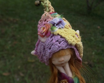 sweet sleepy  fur  fairy fairie with dragonfly wings and fairy trims  ooak