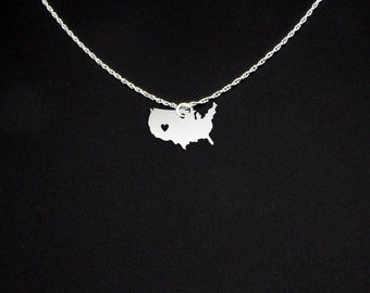 United States Necklace - United States Jewelry - USA Gift - United States Gift - USA Necklace - USA Jewelry
