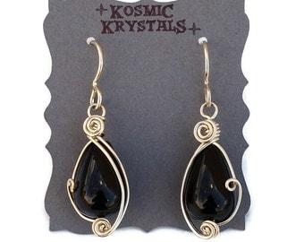 Black Agate Drop Earrings in Sterling Silver / Wire Wrapped Dangle Earrings / Black Stone Earrings in Silver / Gemstone Jewelry
