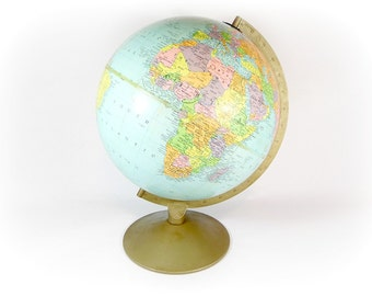 Mid Century Globe Replogle World 12 Inch Globe Tabletop Industrial Office Decor Gustav Brueckmann School Globe Travel