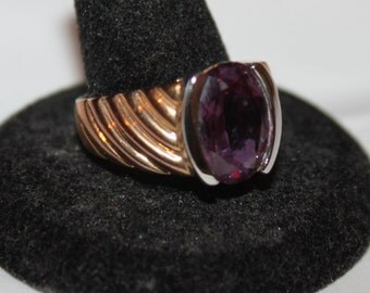 Vintage Sterling with Gold Plated Ring with Hot Pink Stone-Sz 10