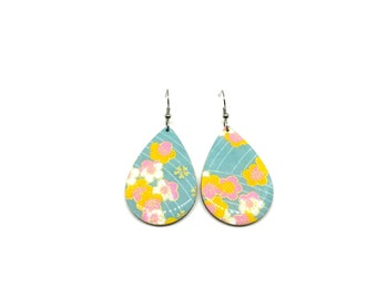 Turquoise Tear Drop Earrings, Pastel, cherry blossoms, Aqua, Chiyogami Paper, Laser Cut Wood, Lightweight, Resin coat, pattern varies