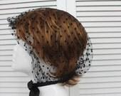 Vintage Black Netting Hair Bonnet / Hair Covering Rare