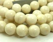 10mm Natural Light Creamy Tan Fossil Stone Round Gemstone Beads - 15.5 Inch Strand - BB36