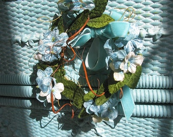 "Blue Floral Wreath 5"" Vintage Velvet Ribbon Violets Flowers Green Leaves Centerpiece Candle Ring Wedding Garden Shower Baby Nursery Decor"