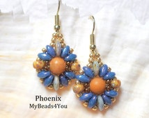 Beaded Earrings, Beadwork Earrings, Superduo Beads Earrings, Blue Beaded Earrings, Jewelry, Beading Tutorial and Patterns, My Beads 4 You