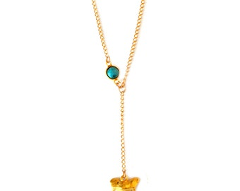 Caicos Turquoise Shark Tooth Lariat Necklace