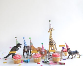 12 mini party hats for animals and dinosaurs, miniature hats for dolls, plastic animals, circus farm dinosaur party