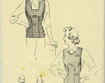1940s Vest Jerkin Pattern Butterick 2167. Side or Shoulder Button Vest with Square or Round Neckline. SIze 14 Bust 32.