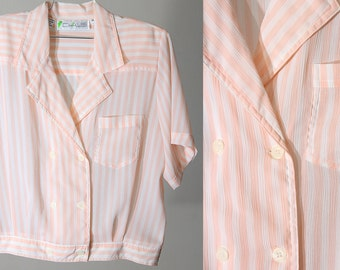Pastel Coral and White Striped Sheer Short Sleeved Collared 80s Top