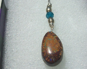 """Boulder Opal Necklace """" Dirt Clod """"  9 Carats Natural Australian Boulder Opal, Hand Crafted Bail, Sterling Silver Chain,Vintage Beads"""