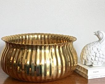 Large Vintage Brass Bowl Gold Metallic Ribbed Polished Brass Boho Chic