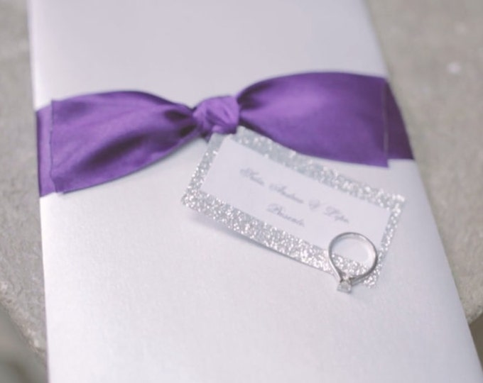 Glitter wedding invitation. Glitter Silver, white pearl and purple theme. Elegant, Fancy and Chic wedding decor.
