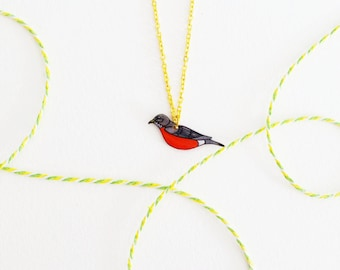 Robin Necklace, Shrink Plastic Necklace, Woodland Charm, Gray, Red, Blush, Lightweight, Minimal Necklace