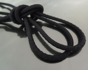 Elastic Cord 5mm - Black Round Stretch Elastic Drawcord Rope Cord ( 1 , 5 or 10 Yards )