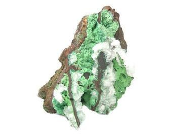 Conichalcite Copper Mineral and calcite geological sample mined in Mexico Green Druzy Display Specimen for a gem rock and mineral collection