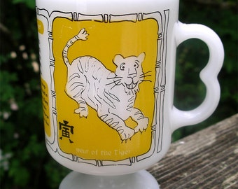 Vintage Year of the Tiger Pedestal Mug - Chinese  Zodiac Sign Milk Glass Cup - Asian Astrology Drinkware