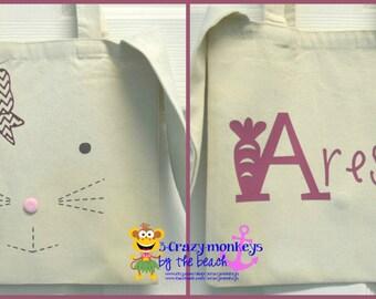 Personalized Easter Bag, Easter Egg Bag, Bunny, Reusable, Easter Egg Hunt
