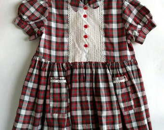 Vintage Red Plaid Little Girl Dress, 3T-4T