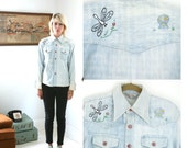 Vintage 70s Embroidered Denim Shirt with Aliens Dragonflies